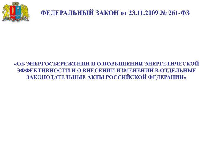ФЕДЕРАЛЬНЫЙ ЗАКОН от 23.11.2009 № 261-ФЗ
