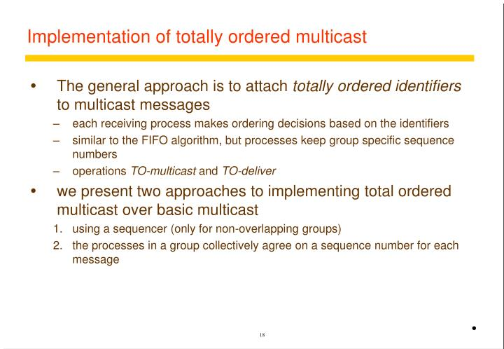 Implementation of totally ordered multicast