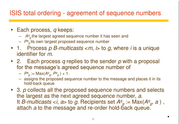 ISIS total ordering - agreement of sequence numbers