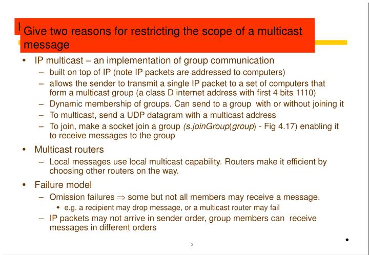 Revision of ip multicast section 4 5 1 page154