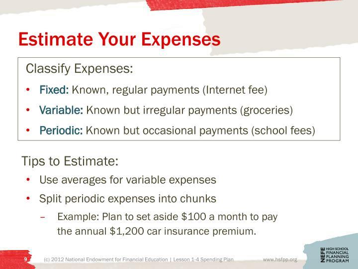 Estimate Your Expenses
