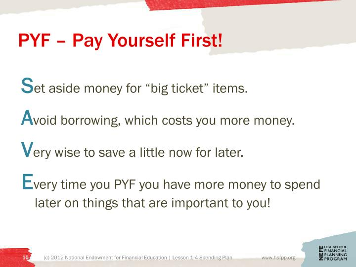 PYF – Pay Yourself First!