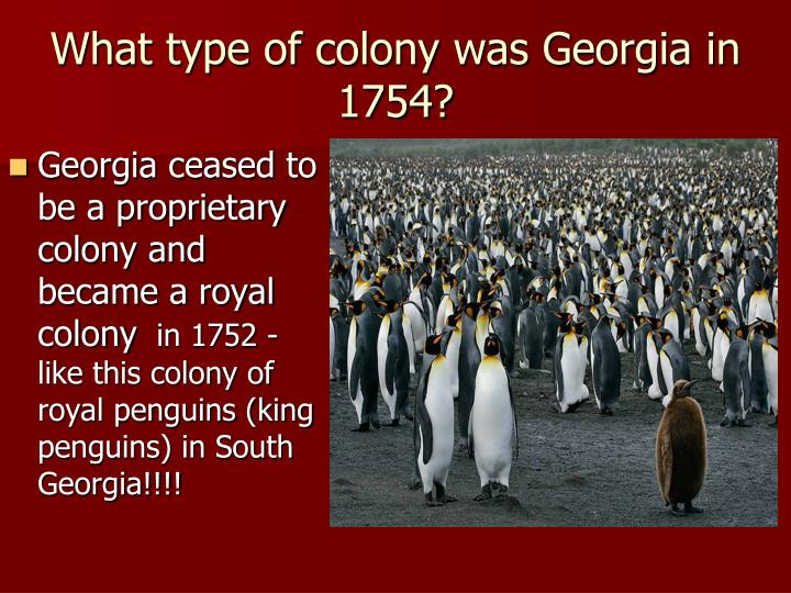 what type of colony was georgia in 1754 n.