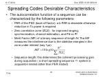 spreading codes desirable characteristics