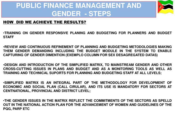 PUBLIC FINANCE MANAGEMENT AND GENDER  - STEPS