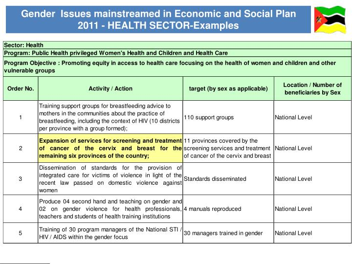 Gender  Issues mainstreamed in Economic and Social Plan 2011 - HEALTH SECTOR-Examples