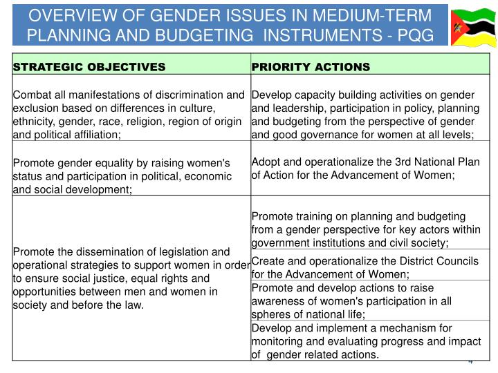 OVERVIEW OF GENDER ISSUES IN MEDIUM-TERM PLANNING AND BUDGETING  INSTRUMENTS - PQG