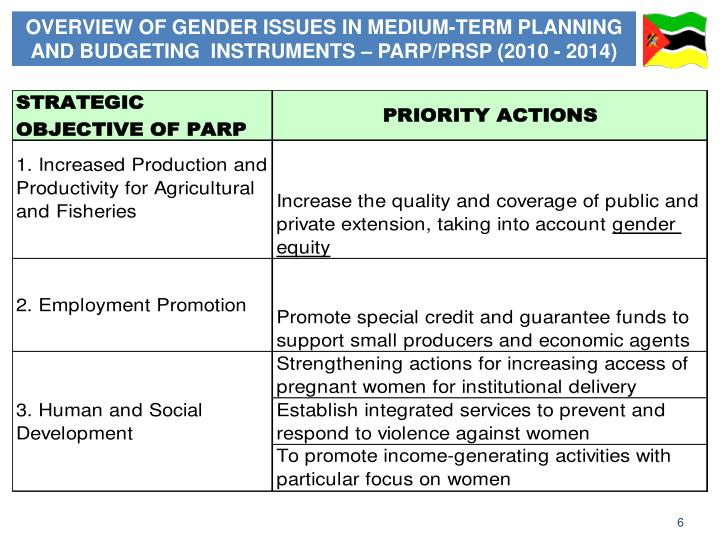 OVERVIEW OF GENDER ISSUES IN MEDIUM-TERM PLANNING AND BUDGETING  INSTRUMENTS – PARP/PRSP (2010 - 2014)