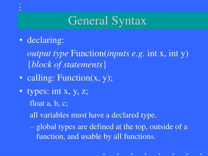 General Syntax