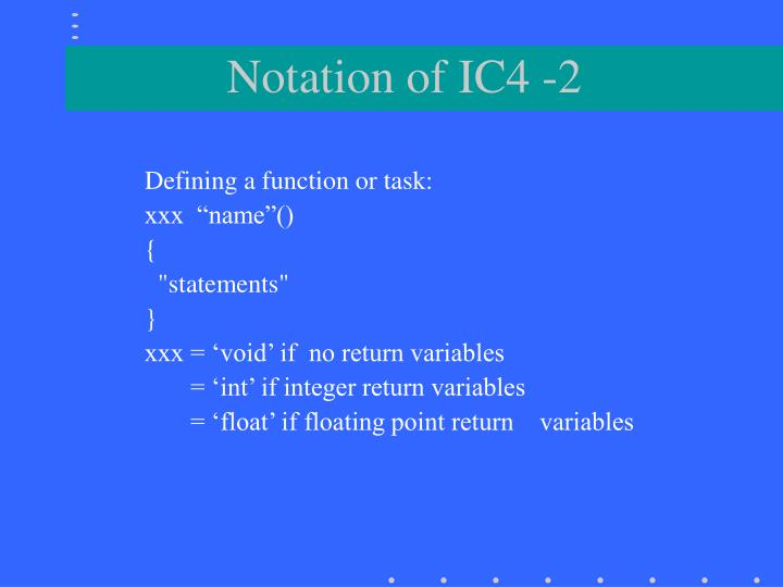 Defining a function or task: