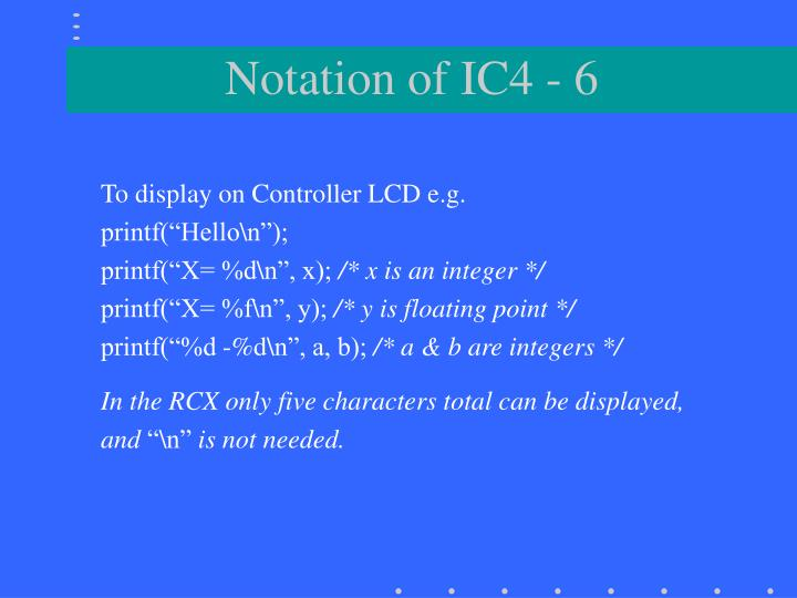 Notation of IC4 - 6