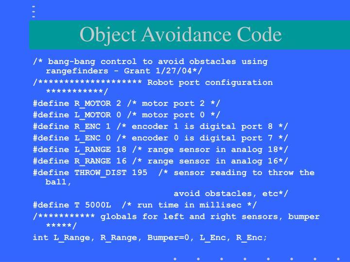 Object Avoidance Code
