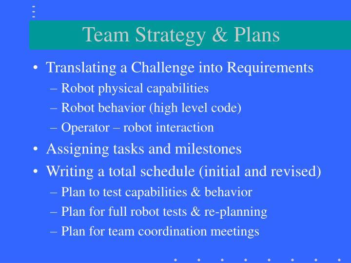 Team Strategy & Plans