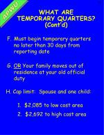 what are temporary quarters cont d
