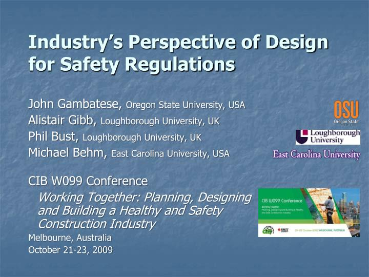 industry s perspective of design for safety regulations n.