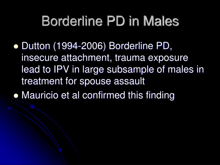 Borderline PD in Males