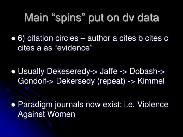 "Main ""spins"" put on dv data"