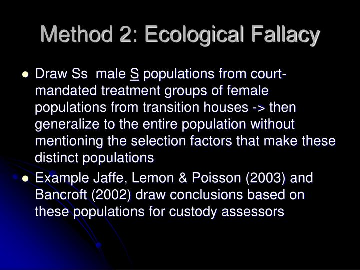 Method 2: Ecological Fallacy