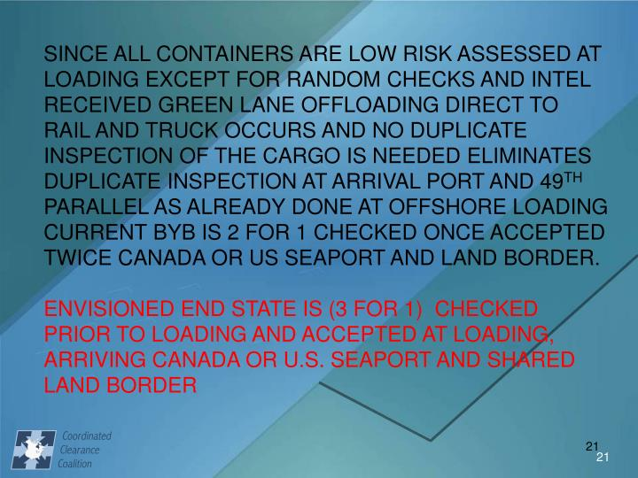 SINCE ALL CONTAINERS ARE LOW RISK ASSESSED AT LOADING EXCEPT FOR RANDOM CHECKS AND INTEL RECEIVED GREEN LANE OFFLOADING DIRECT TO RAIL AND TRUCK OCCURS AND NO DUPLICATE INSPECTION OF THE CARGO IS NEEDED ELIMINATES DUPLICATE INSPECTION AT ARRIVAL PORT AND 49