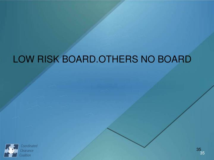 LOW RISK BOARD.OTHERS NO BOARD