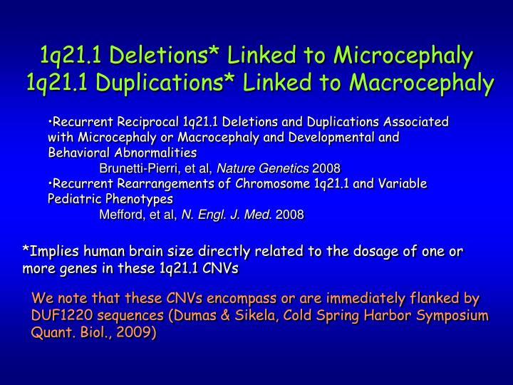 1q21.1 Deletions* Linked to Microcephaly
