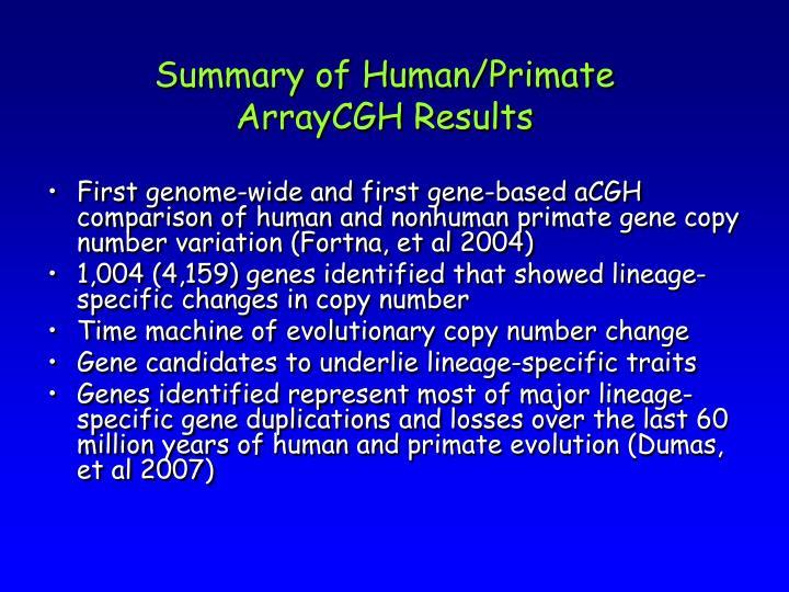 Summary of Human/Primate
