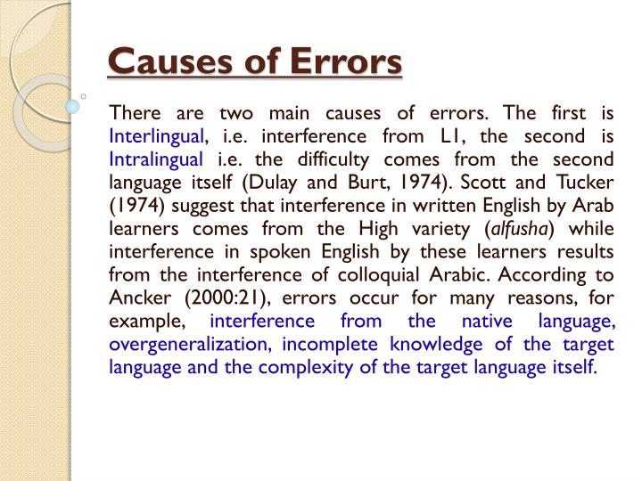 Causes of Errors