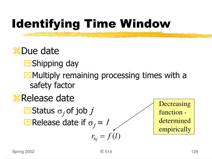 Identifying Time Window