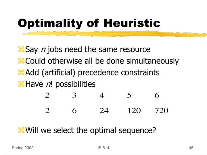 Optimality of Heuristic