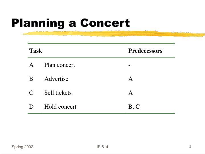Planning a Concert