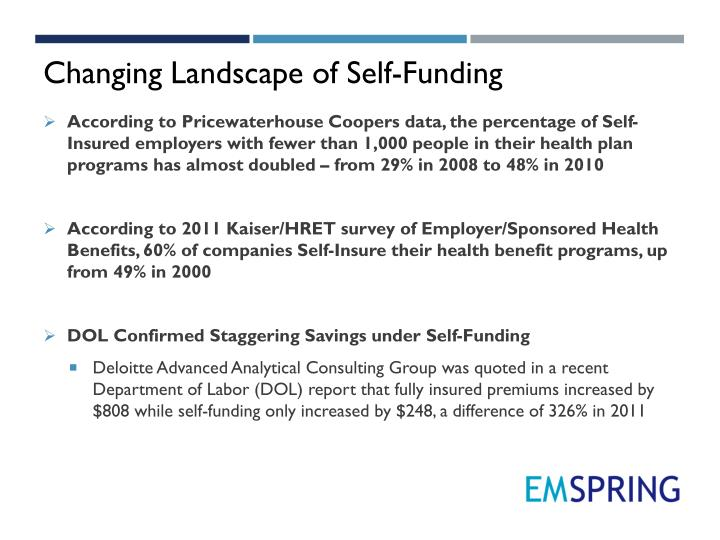 Changing Landscape of Self-Funding