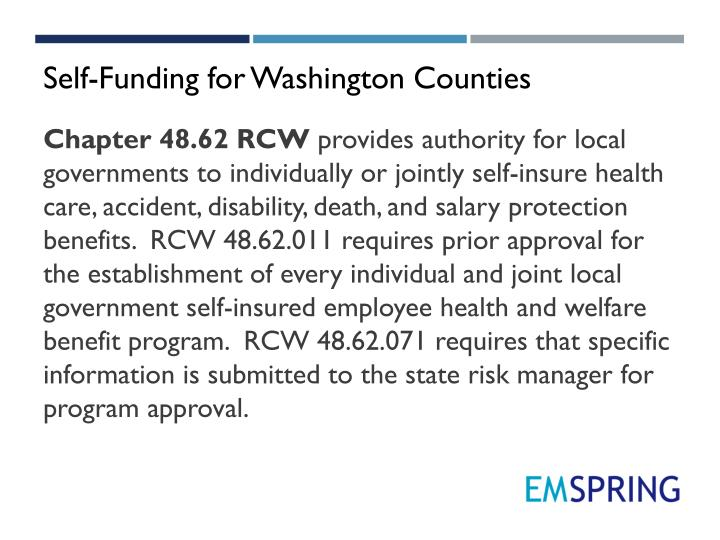 Self-Funding for Washington Counties
