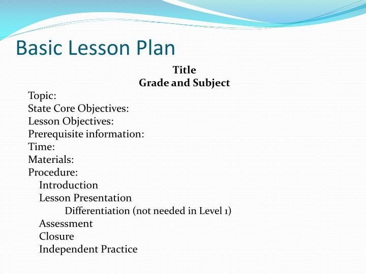 Basic Lesson Plan