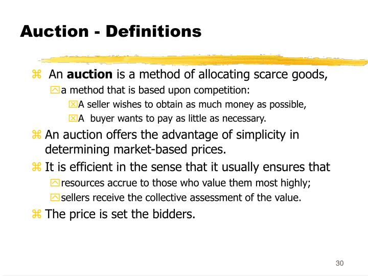 Auction - Definitions