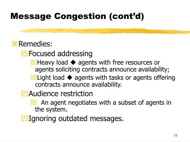 Message Congestion (cont'd)