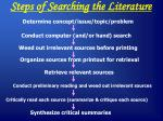 steps of searching the literature