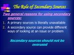the role of secondary sources