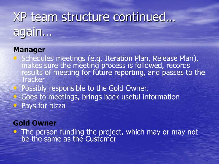 XP team structure continued… again…
