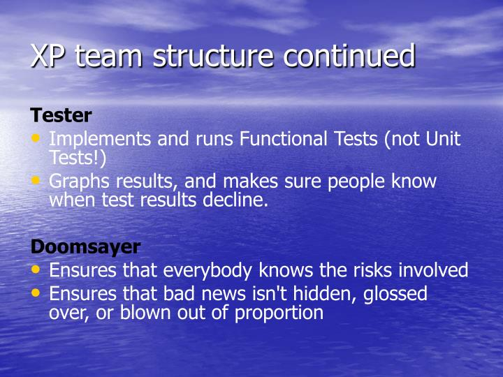 XP team structure continued