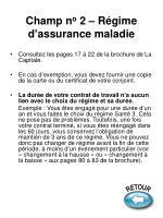 champ n o 2 r gime d assurance maladie