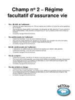 champ n o 2 r gime facultatif d assurance vie