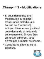 champ n o 3 modifications
