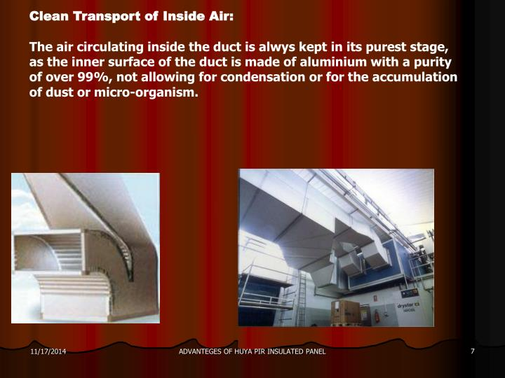 Clean Transport of Inside Air: