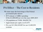 pa effect the cost to residents