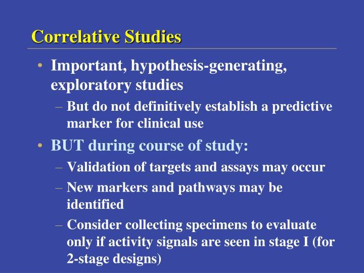 Correlative Studies