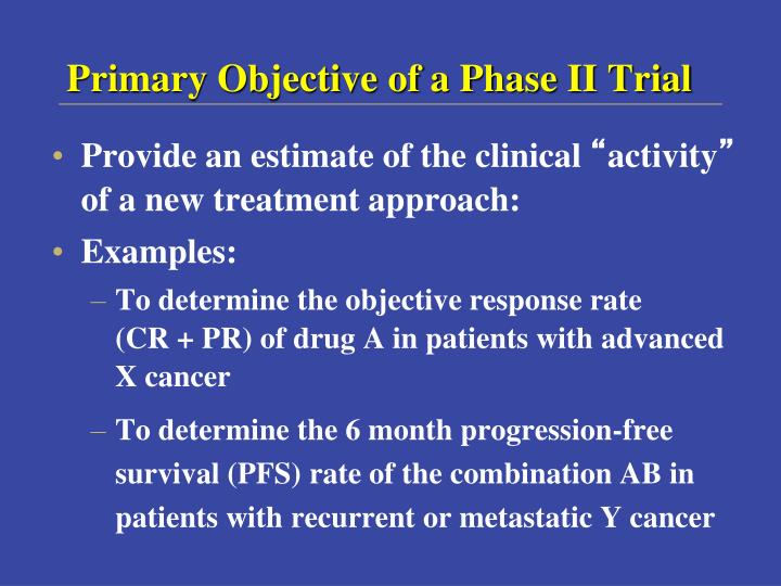 Primary Objective of a Phase II Trial