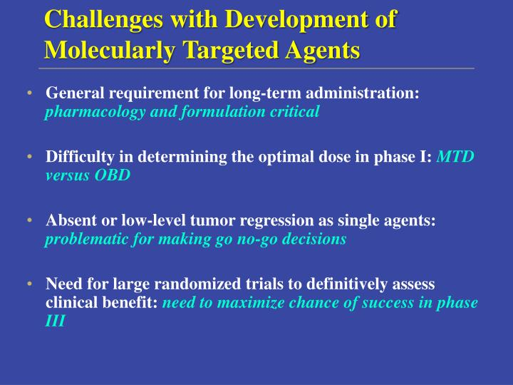 Challenges with Development of Molecularly Targeted Agents