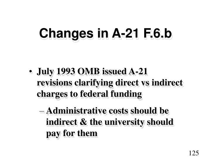 Changes in A-21 F.6.b