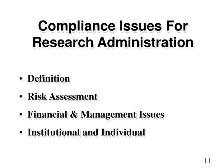 Compliance Issues For