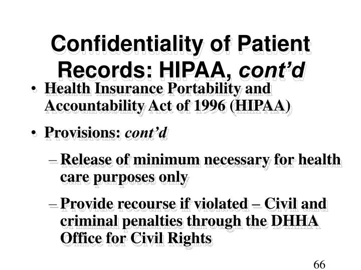 Confidentiality of Patient Records: HIPAA,